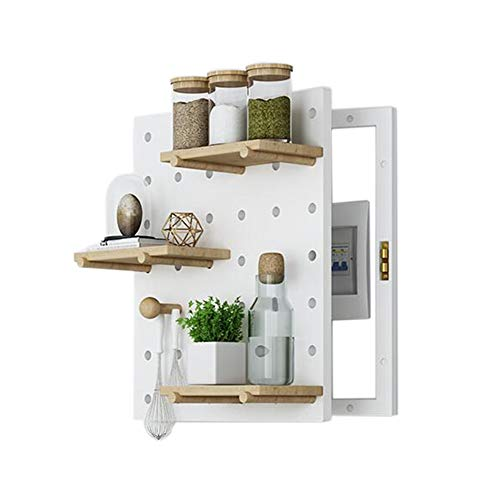 JCNFA Planken Wandplanken Meter Box Blokkeren Distributie Box Decoratieve Box Elektrische Remdoos Massief Hout Gat Board Wanddecoratie 18.11 * 22.04in Kleur: wit