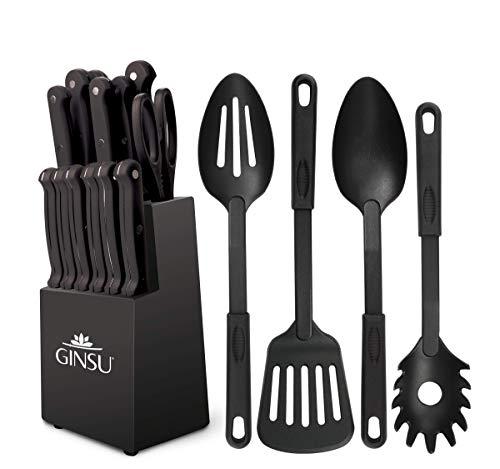 Ginsu® Set de 18 Piezas Gourmet KISO™, Cuchillos de Acero Inoxidable Japonés, con Mango de Color Negro, Aptos para lavavajillas y Bloque Negro de Madera