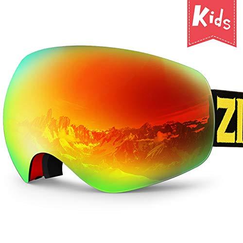 ZIONOR Lagopus X Mini Kinder Skibrille Verspiegelt Snowboard Skate Schneebrille mit 100{73f381b79415095e6246d883fee794d24ff5111d64145b26800e8456e26ce8e8} UV-Schutz Anti-Nebel abnehmbare WeitWinkel Doppel-Panorama-Objektiv für Kinder, Jugend
