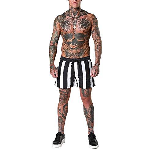Kilus - Pantalones cortos de fitness para hombre, diseño de rayas, atlético, de secado rápido Blanco Y Negro M