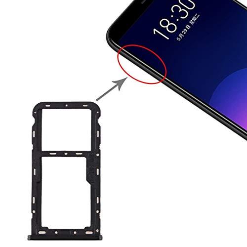 HDZ AYDD - Bandeja para tarjetas SIM + bandeja para tarjetas SIM y micro SD para Meizu M6T (color: negro)