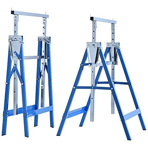 HOMCOM 2 x Gerüstbock Unterstellbock Klappbock höhenverstellbar bis 200kg Stahl Blau 68 x 58 x 80-130 cm