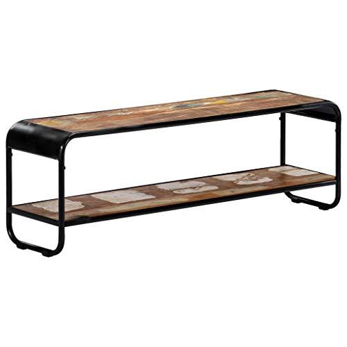 Tidyard TV-Schrank Sideboard Schuhregal TV-Regal im Antik-Stil aus Recyceltes Massivholz,TV-Lowboard Fernsehschrank Fernsehtisch 120 x 30 x 40 cm,Kein Zusammenbau erforderlich