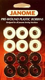 Janome 12 Pack Pre-Wound Plastic Bobbins White and Black Thread