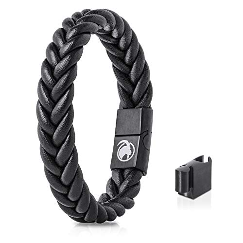 Steinbock7 Männer Lederarmband geflochten Magnetverschluss – Armband aus Leder in Geschenkbox (Schwarz)