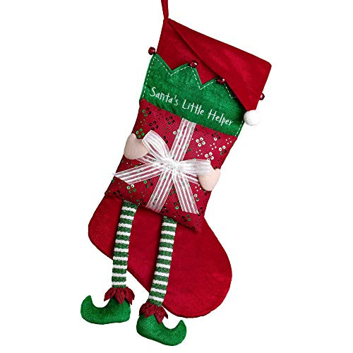 Valery Madelyn 21 inch Delightful Elf Christmas Stockings Decorations, Large Xmas Stockings Personalized with Hand-held Gift Box and Christmas Hat, Themed with Tree Skirt (Not Included)