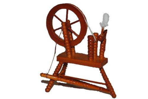 alles-meine.de GmbH Miniatur - Spinnrad zum Spinnen - Wolle Handwerk Schaf Schafwolle Spindel Dornröschen - Puppenstube - Maßstab 1:12