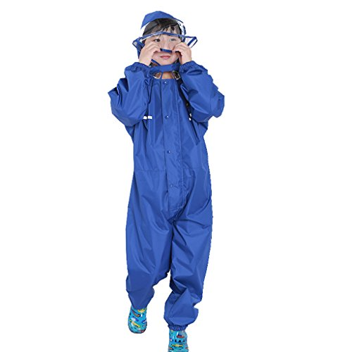 Vestes anti-pluie QFF Child Raincoat Siamese Boys and Girls Poncho Baby Student Raincoat Protection de l'environnement (Couleur : Bleu, Taille : XXL)