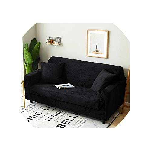 DAWN&ROSE Plush Sofa cover 18 colors for choose thick seat Slipcovers couch sofa covers stretch elastic Towel wrap covering,Black,2 PCS 45x45cm