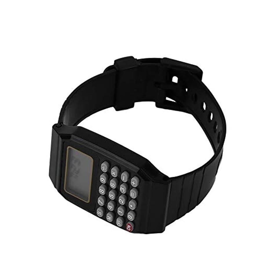 菊農学スピーカーDEH 学生電卓 デジタル腕時計 ソリッドカラー シリコン電卓 ブラック