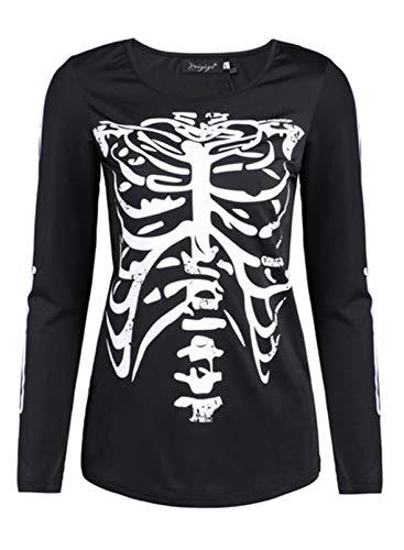 CORAFRITZ Camiseta de manga larga para mujer, diseño de jaula de canalé...