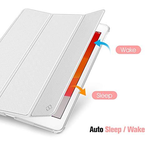 Fintie Hülle für iPad 8. Generation (2020) / 7. Gen (2019) 10.2 Zoll mit Pencil Halter, Ultradünn Leichte Schutzhülle mit transparenter Rückseite Abdeckung mit Auto Schlaf/Weck, Silber