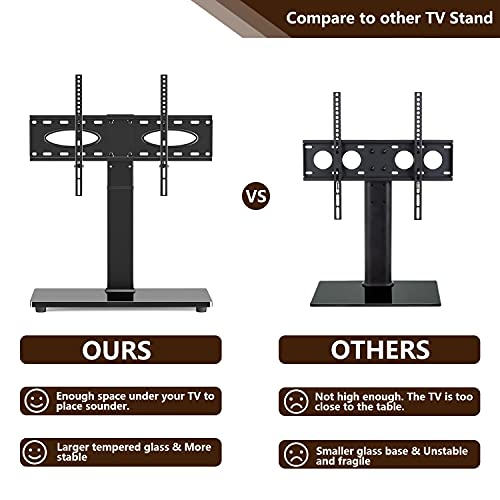 TAVR Universal Tabletop TV Stand Swivel TV Stand Base for 37 to 70 inch Flat/Curved Screen TVs - Height Adjustable TV Table Stand,Tempered Glass Base,Wire Management,VESA 600x400mm,Hold up to 88 lbs