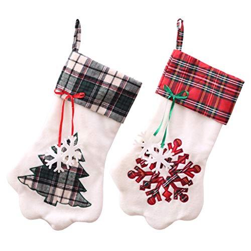 Eliky 2 stuks kerstkousen Pet hond poot patroon kousen open haard hangend kousen voor Pet en Kerstdecoratie