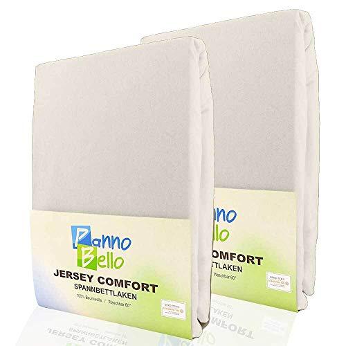 PANNOBELLO Spannbettlaken Doppelpack Natur 2 Stück 90 x 200 cm - 100 x 200 cm (+30 cm) Jersey 100% Baumwolle für bis zu 40 cm Hohe Matratzen Spannbett-Tuch Bettlaken Laken auch für Topper