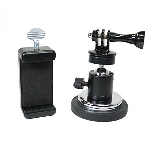 Action Mount | Rubber Coated Magnetic Camera & Phone Mount w/Ball Head for DLSR, Sports Camera, or Phone. Great for Video, Pictures, Livestreaming, or WOD. (XL Rubber Coated Magnet)