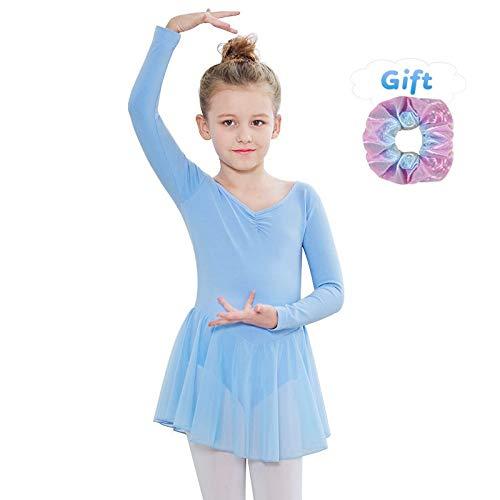 Sinoem Kinder Mädchen Ballettkleidung Ballettkleid Tanzbody Gymnastikanzug Kurzarm und Lange Ärmel Balletttrikot Kurzarm Tanzkleid aus Baumwolle mit Chiffon Kleider (S(110,3-4Jahre), Langarm-Blau)