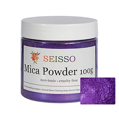 Purple Mica Powder - 3.5 Ounces/ 100 Grams - Natural Epoxy Resin Dye - for Soap Making, Slime and Nail Pigment Powder, Paint, Bath Bomb Colorant