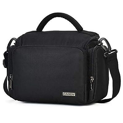 CADeN Compact Camera Shoulder Crossbody Bag Case Compatible for Nikon, Canon, Sony SLR/DSLR Mirrorless Cameras and Lenses Waterproof Black