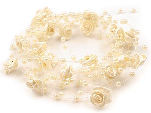 1 m Rosen Perlenband Perlenkette Perlengirlande Hochzeit Deko Perlen Tischdeko Rosen (Creme)
