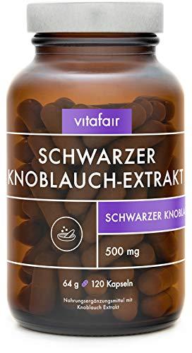 Schwarzer Knoblauch Extrakt 10:1-500mg pro Tagesdosis - 90 Kapseln - Hochdosiert, Fermentiert & Geruchlos - Vegan - Ohne Magnesiumstearat - German Quality