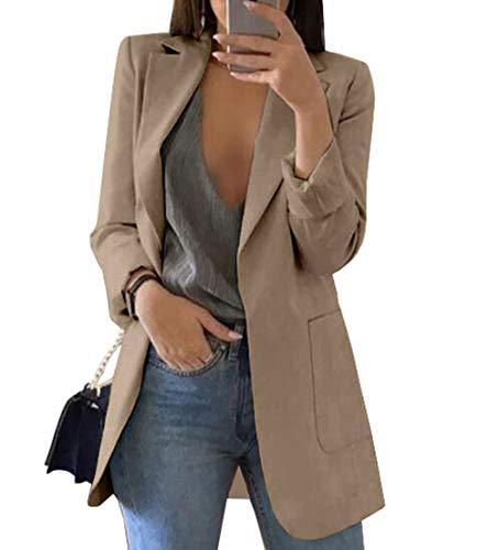 Acsoal Damen Anzugjacke Blazer Strickjacke Revers Modern Einfarbig Temperament Casual Frühling Herbst Cardigan Tunika (Khaki, S)