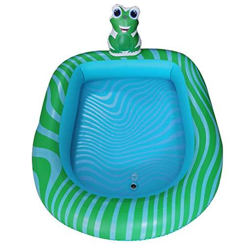 Abaodam Fuente inflable engrosada para jugar a los niños, piscina, playa, césped, piscina, piscina inflable, piscina inflable, juego para niños pequeños (patrón de rana L)