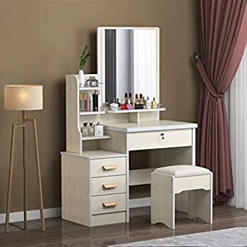 Large Vanity Table Set,Vanity Table Set Makeup Vanity Dressing Table with Mirror 4 Drawers 3 Shelves Bedroom Dresser Desk with Cushioned Stool Girls Women,Gift for Women White