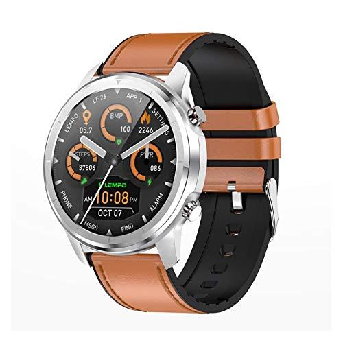 YNLRY LF26 Bluetooth 5.0 Smart Watch 1.3 pulgadas 360 x 360 HD Amoled pantalla impermeable reloj inteligente hombres frecuencia cardíaca presión arterial (color marrón plata)