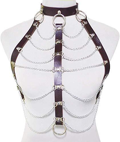LXDDJXL Collares largos Lariat Collar de cintura Cadena de lencería de moda corsé punk corset cadena de cuerpo de discoteca sexy cadena de cuerpo Beach Charm Chain Bar (color: marrón)