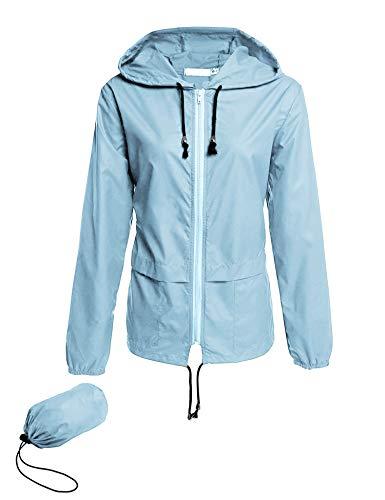 Avoogue Lightweight Raincoat Women's Waterproof Windbreaker Packable Outdoor Hooded Rain Jacket Light Blue L
