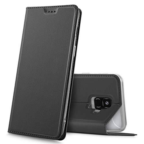 Verco Handyhülle für Galaxy A6, Premium Handy Flip Cover für Samsung Galaxy A6 (2018) Hülle [integr. Magnet] Book Case PU Leder Tasche, Schwarz