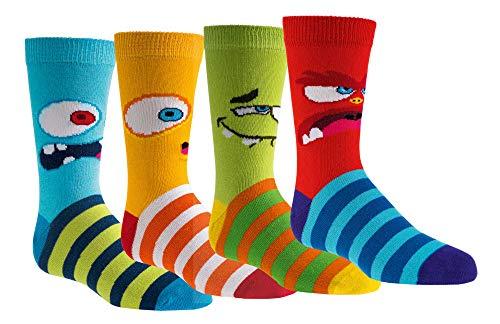 FussFreunde Kinder Öko Socken 6 Paar für Jungen/Mädchen,Schadstoffgeprüft, in vielen Mustern (Lustige Monster, 27-30 = 5-6 Jahre)