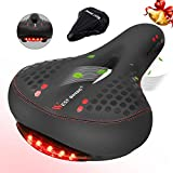 West Biking Black Gel Bike Seat, Bicycle Saddles Cushion Dual Spring Designed Memory Foam Padded Leather Life Waterproof Taillight,Comfortable, Breathable, Safety Fit Most Men Women Bike