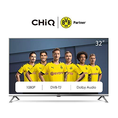 CHiQ L32D5T 80cm Fernseher 32 Zoll TV Full HD LED Fernseher, Triple Tuner, Premium Metall Rahmen, HDMI, USB, CI+, H.265, Dolby Plus, Hotelmode, Grau