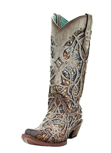 CORRAL Women's Taupe Inlay Western Boot Snip Toe Taupe 6 M
