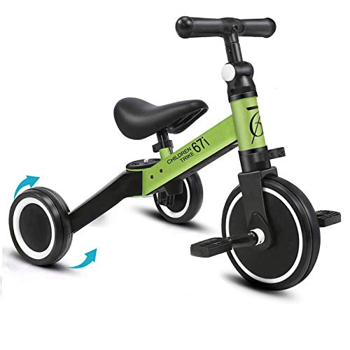 67i Tricycles for 2 Year Olds Toddler Tricycle 3 in 1 Tricycles Kids Trikes for Toddler Bike 3 Wheel Convert 2 Wheel with Removable Pedal and Adjustable Seat for 13 Years Green