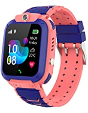 Smartklocka för barn, Hanguang GPS+LBS Tracker Smartwatch för pojkar flickor, IP67 vattentät barnklocka telefon med elektroniskt staket/röstsamtal/SOS/främre kamera/fjärrövervakning