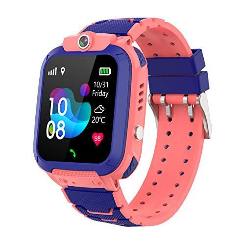 Hangang - Orologio da bambino con localizzatore GPS LBS per bambini, con schermo touch a colori, fotocamera a distanza, citofono vocale e telefono, adatto per ragazzi e ragazze (rosa)