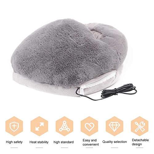 Calentador de pies, calentador de pies con USB, de gran bolsillo, suave, desmontable, calentador eléctrico para invierno o oficina en casa, zapatillas de calefacción