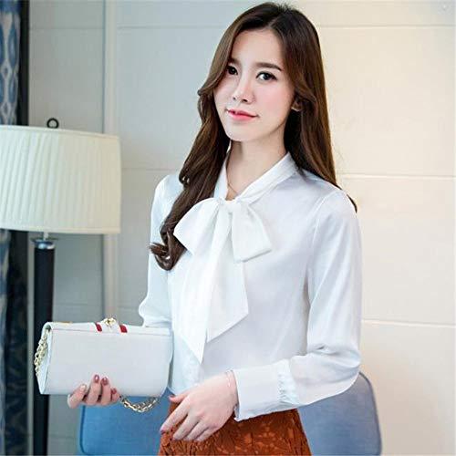 NSSYL Dames-tops, lange mouwen, satijn, voor werkkleding, kantoor blouse