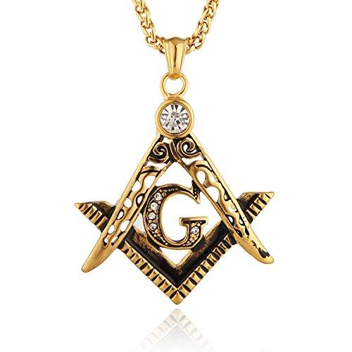 HZMAN Mens Cubic Zirconia Freemason Symbol Masonic Stainless Steel Pendant Necklace 22+2 inch Chain (Gold)
