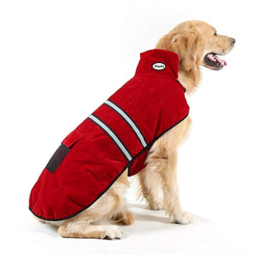 Hiado Dog Coat with Harness Hole and Reflective Strip for Winter Cold Weather Red XXL Chest 35-40 Inch