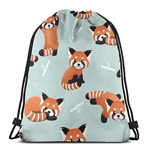 Unisex DrawstringBackpackBag Cute Red Panda Bamboo LightweightGymTravelYogaCasualSnackpackShoulderbagforHikingSwimmingbeach 16.5 X 14.2inch