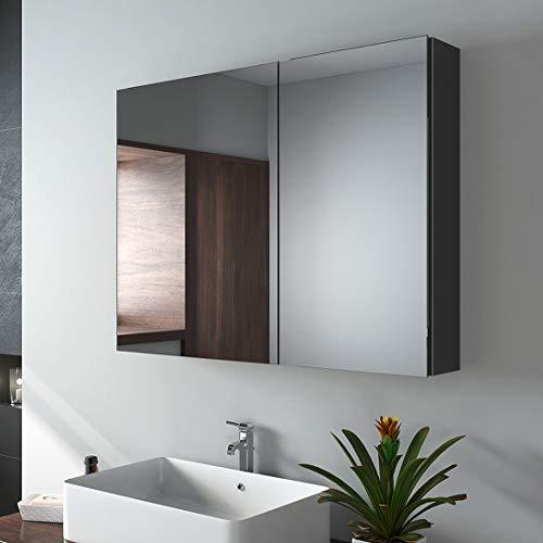 EMKE Spiegelschrank, 85x65cm Badezimmerspiegelschrank, zweitüriger Badschrank mit doppelseitigem Spiegel (schwarz mattiert)