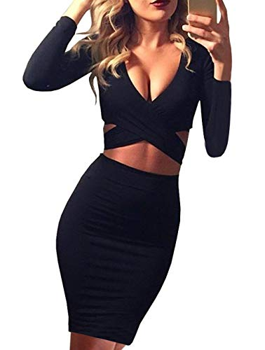 Memorose Womens Sexy Long Sleeve Cut-Out Bandage Bodycon Clubwear Midi Dress Black S