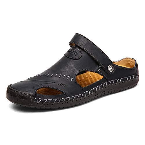 MLLM Slippers Sneldrogende Badkamer Slippers, Heren casual sandalen, lederen outdoor strandschoenen-black_48, House Soft Flip Flop Schoenen