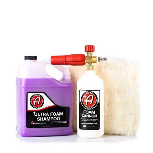 Adam's Foam Cannon Car Wash Kit - Produces Thick Car Foam Shampoo Soap with A Plush, Synthetic Wool Wash Pad for A Swirl & Scratch Free Wash – Car Cleaning Supplies - Pressure Washer & Hose Required