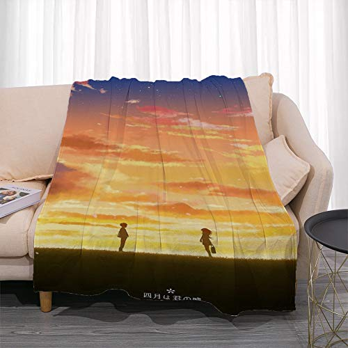 GUANGZHENG Il tuo Lie in April Serie Miyazono Kaori E Arima Kousei nel Tramonto Pattern/Anime Blanket Personaggio/Facile da trasportare e Clean/Single-Sided Stampa Digitale/Adatto for Adulti e