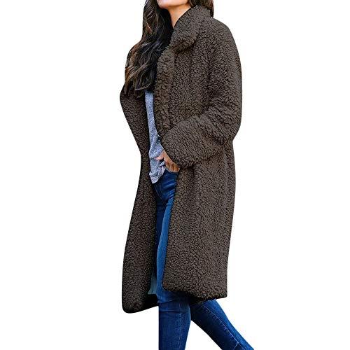 Allegorly Damen Mantel Plüschjacke Frau Wintermantel Lang Mantel Mode Revers Winterjacke Taschen Cardigan Winter Warmen Plüsch Loose Wollmantel Klassisch Fleecejacke Coat